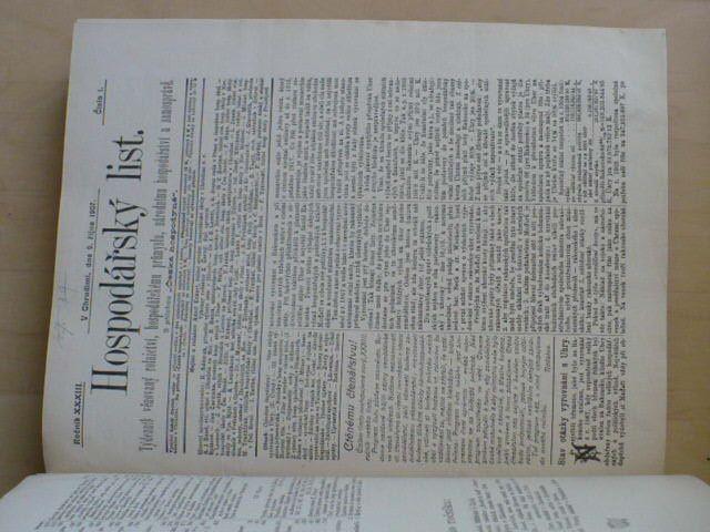 Hospodářský list 1908 - Rolnictví, hospodářský průmysl