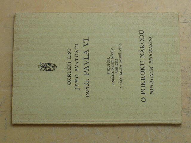 Okružní list jeho svatosti papeže Pavla VI. - O pokroku národů (nedatováno)