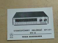 Prospekt - Stereofónny prijímač SP 201 810  A Hi-Fi Tesla Bratislava