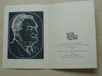 Pozdravení k pětasedmdesátinám spisovatele a bibliofila Jindřicha Spáčila v Kroměříži 1974, linoryt