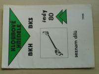 Kloubové hřídele BKH BKS řady 80- seznam dílů (Agrozet 1988)