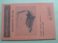 Gramofon NC 452 - Návod o opravě a údržbě (1988) Tesla Litovel
