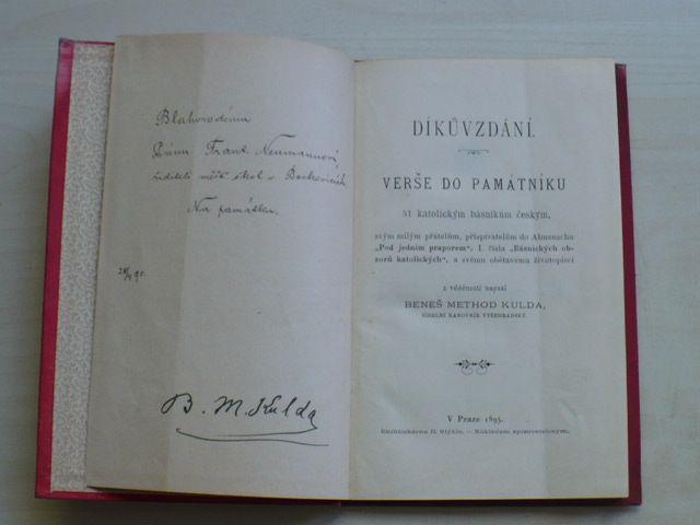 Beneš Method Kulda - Díkůvzdání - Verše do památníku 51 katolickým básníkům českým (1895)