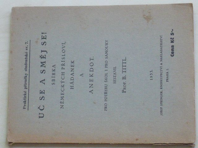 Tittl - Uč se a směj se! - Sbírka německých přísloví, hádanek a anekdot (1933)