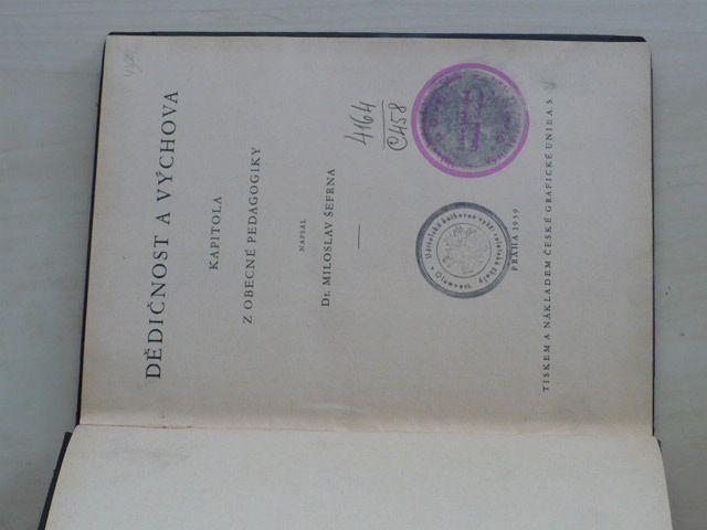 Šefrna - Dědičnost a výchova - Kapitoly z obecné pedagogiky (1939)