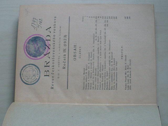 Brázda - Revue československého venkova 1-10 (1923) ročník IV.