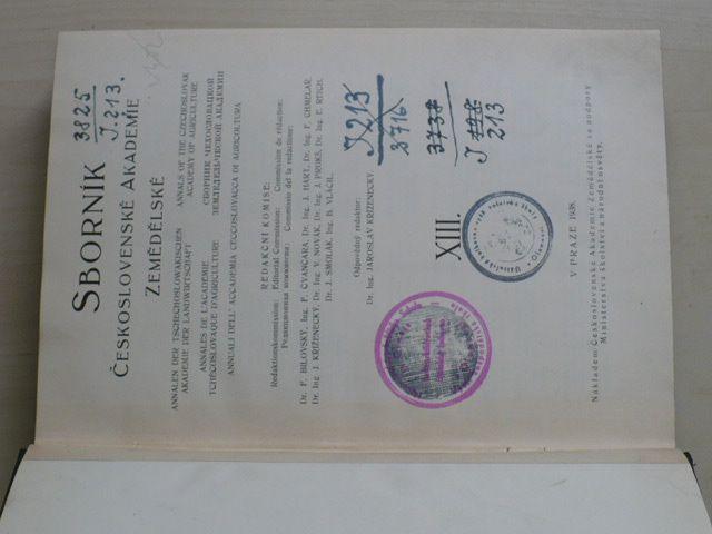 Sborník Československé akademie zemědělské (1938) ročník XIII.