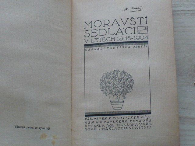 Obrtel - Moravští sedláci v letech 1848 - 1904 (1914)