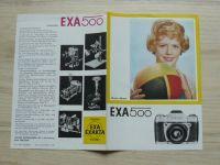 Prospekt fotoaparát EXA 500 + příslušenství, německy (1967)