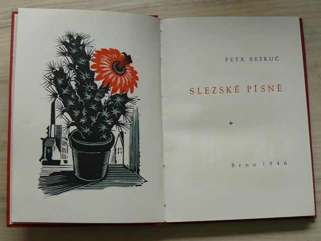 Petr Bezruč - Slezské písně (1946) podpis autora
