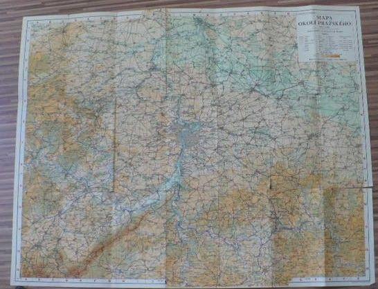 Mapa okolí Pražského 1 : 100 000 - mapový ateliér Edv. Fastra, Praha Smíchov