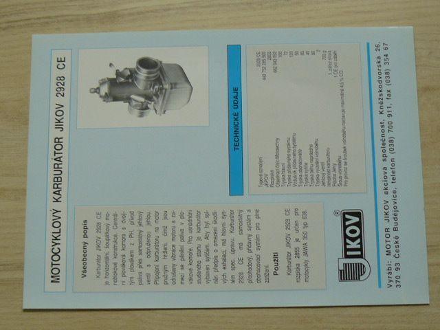 Motocyklový karburátor Jikov 2928 CE - Prospekt - JAWA
