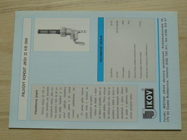 Palivový kohout Jikov 22 K/B 2848 - prospekt