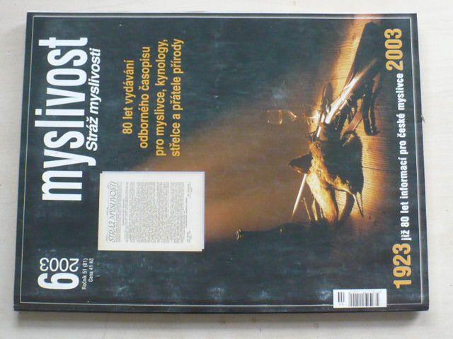 Myslivost 1-12 (2003) ročník LI. (chybí čísla 1-5, 7 čísel)
