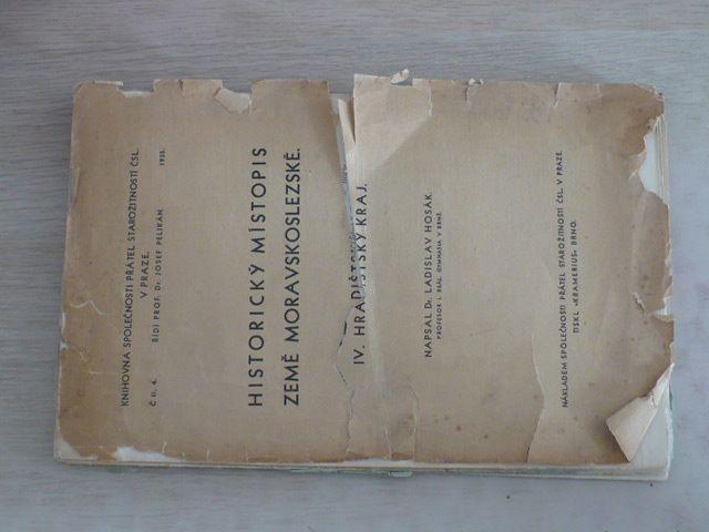 Hosák - Historický místopis země Moravskoslezské - Hradištský kraj (1935)