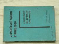 Wenzl - Zemědělské zákony z roku 1930 a jejich důsledky pro zemědělské družstevnictví (1930)