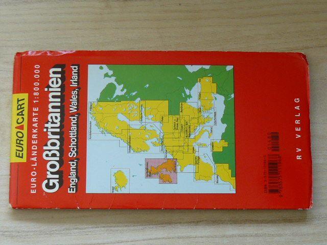 Euro Länderkarte 1 : 800 000 Großbritannien - England, Scottland, Wales, Irland (nedatováno) německy