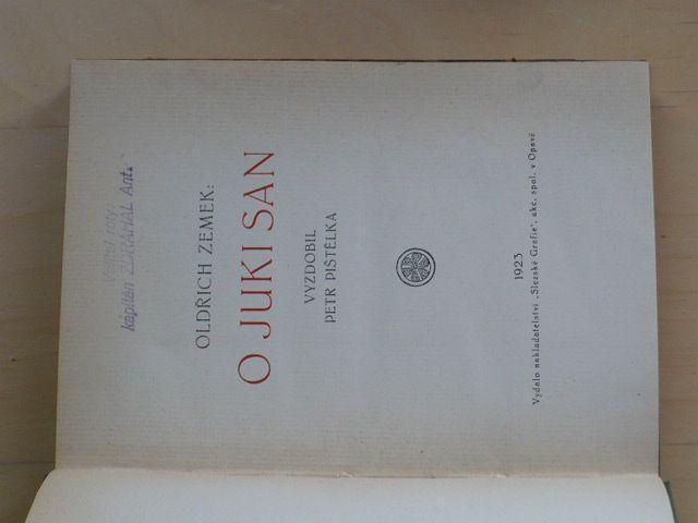 Zemek - O Juki San (1923) vyzdobil Pištělka